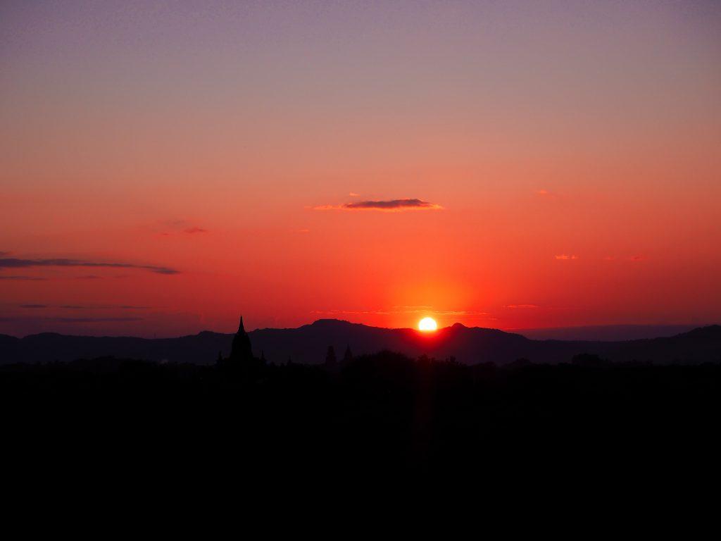 A sunset over Bagan