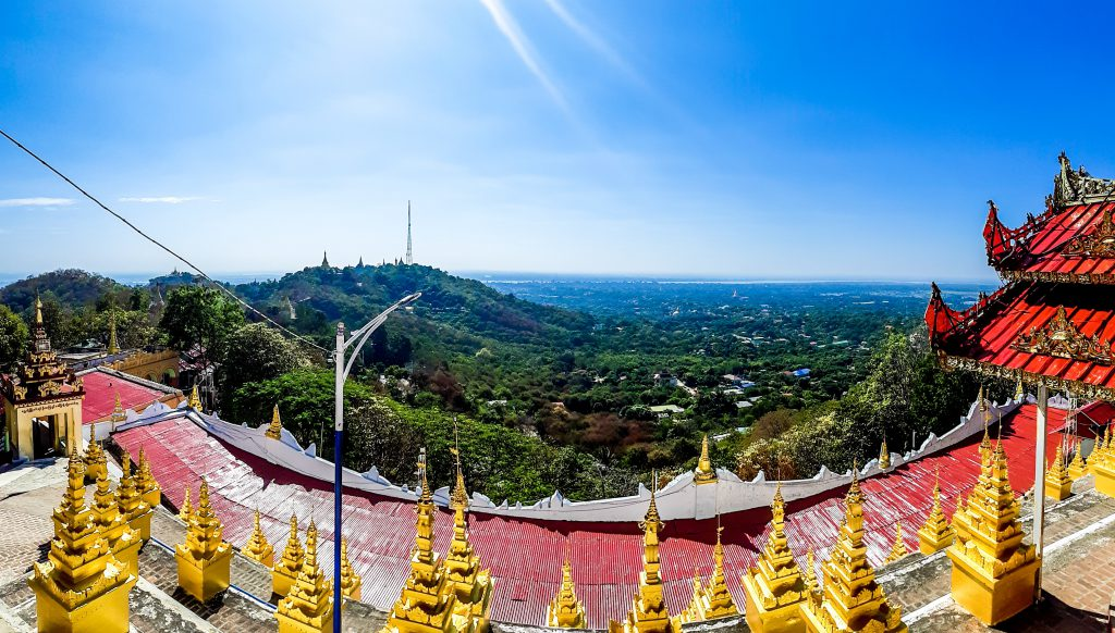 View from U Min Thonze Cave Pagoda on Sagaing Hill in Mandalay in Myanmar