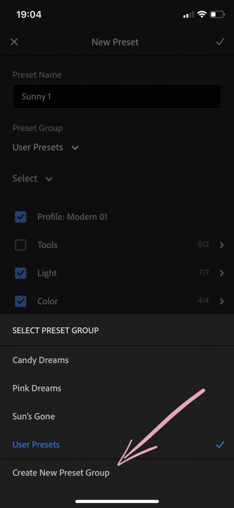 Clicking on the button to create new preset group