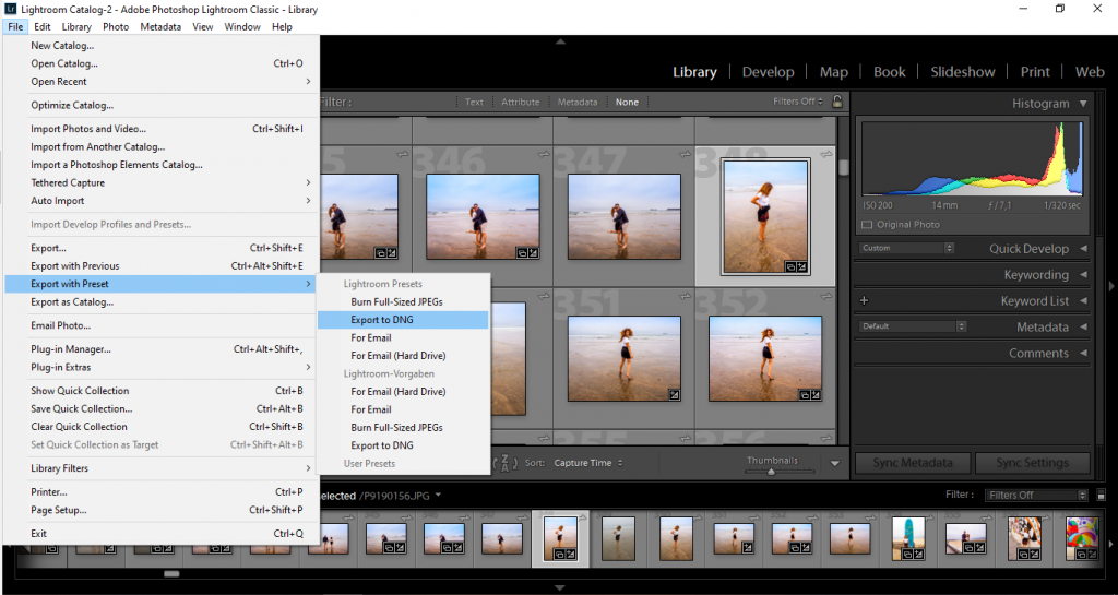 how to export your photo in DNG format from Lightroom