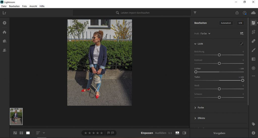 Adjust highlights and shadows to a photo in Lightroom