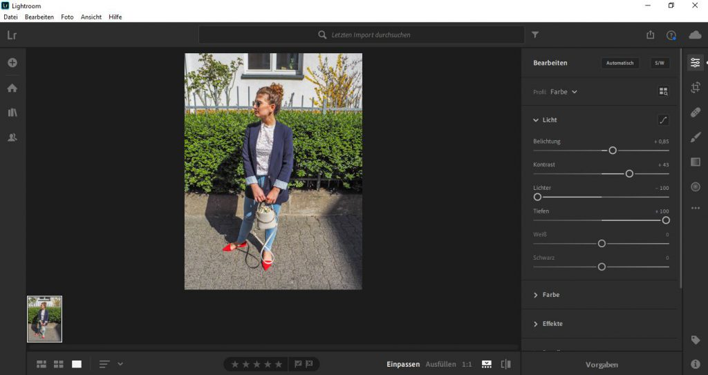 Editing the exposure and contrast of a photo in Lightroom