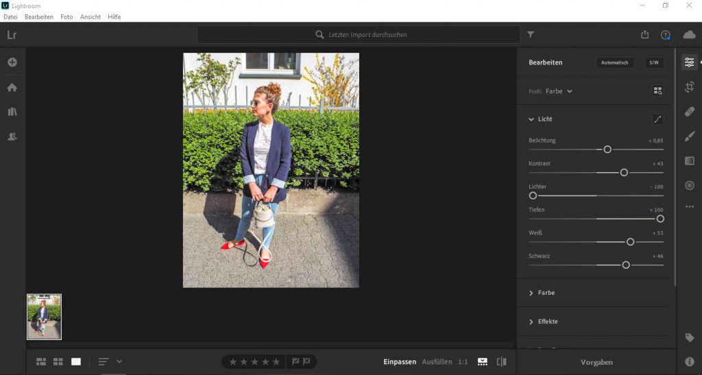 How to edit the light settings in Lightroom