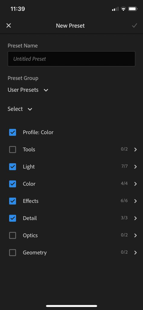 Select where you want to save the preset