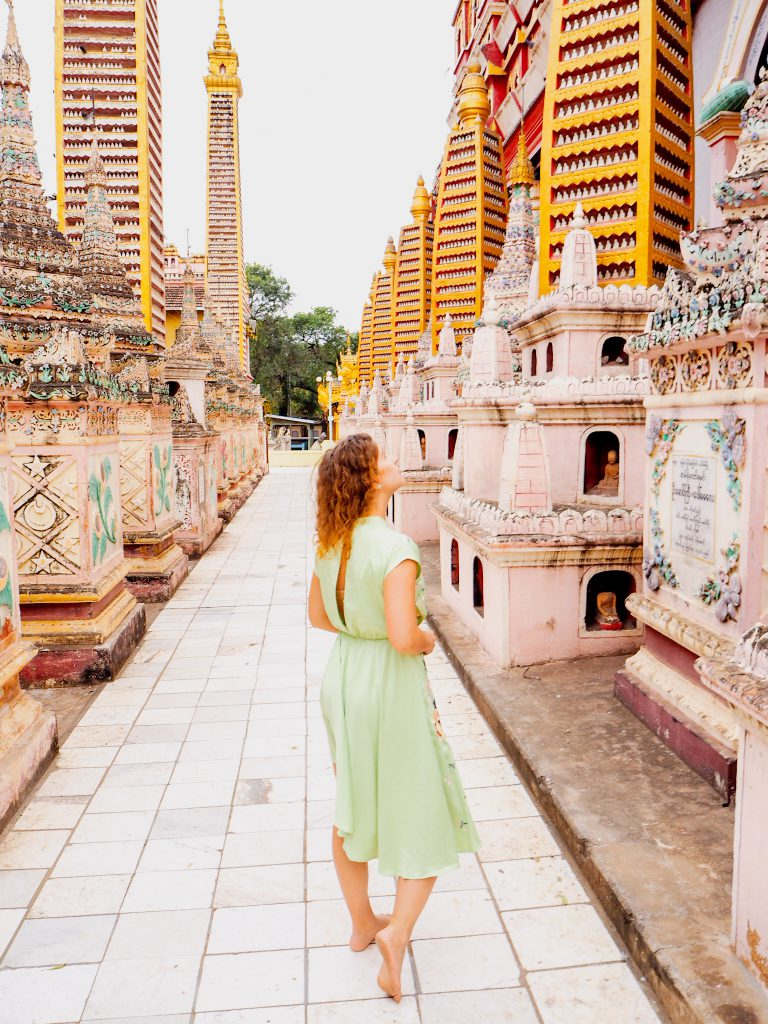 Girl exploring temples in Myanmar