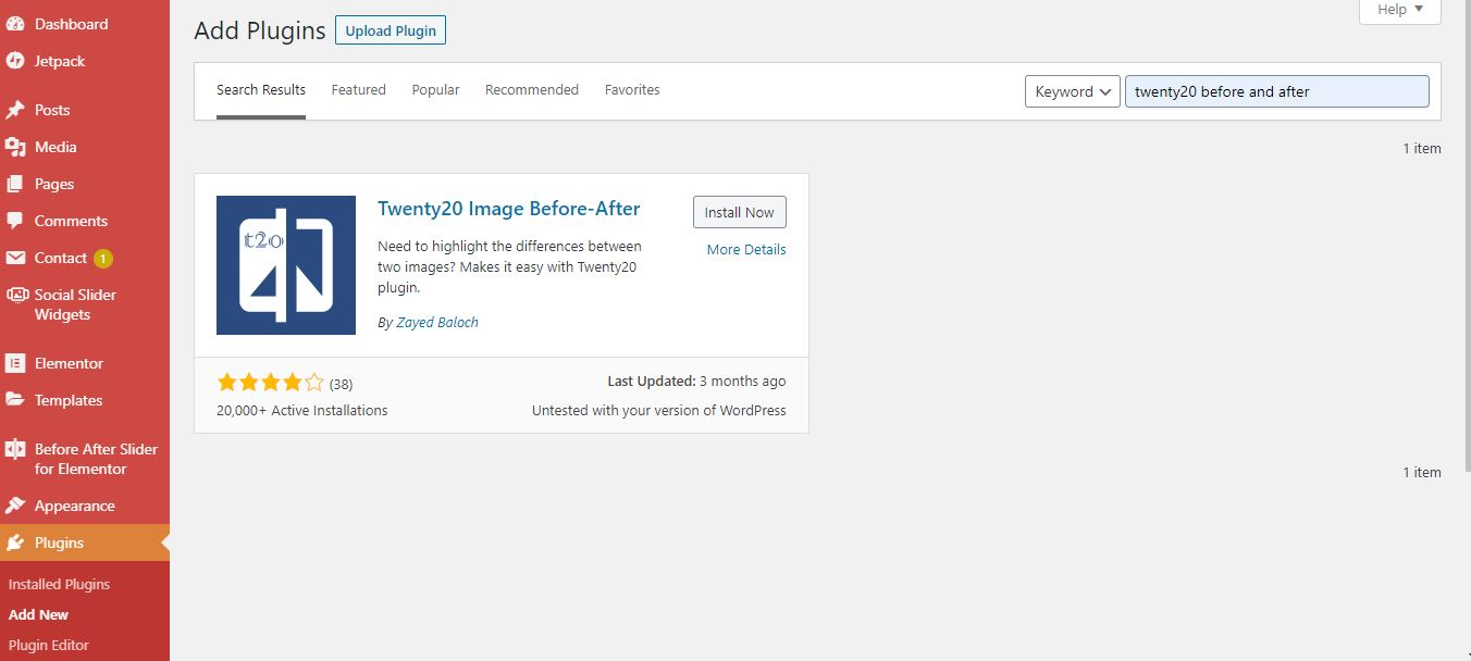 how to install a before after image plugin in WordPress