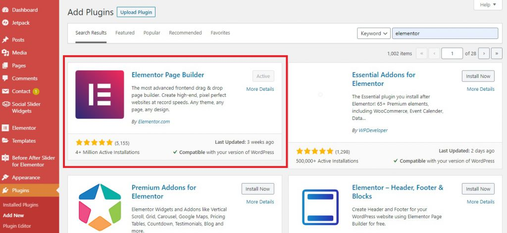 how to install another page builder in WordPress